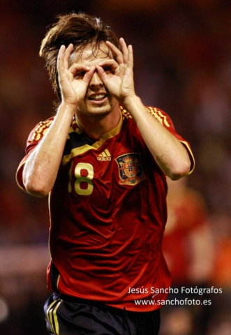 celebracion de silva deportes futbol seleccion española  fotografou deportivo